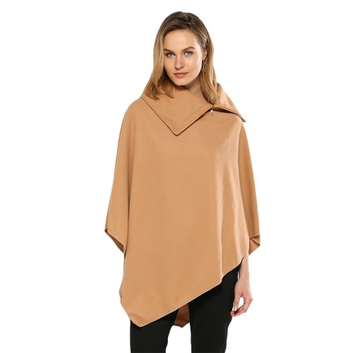 Simple Style Turn-down Collar Loose Cloak for Women